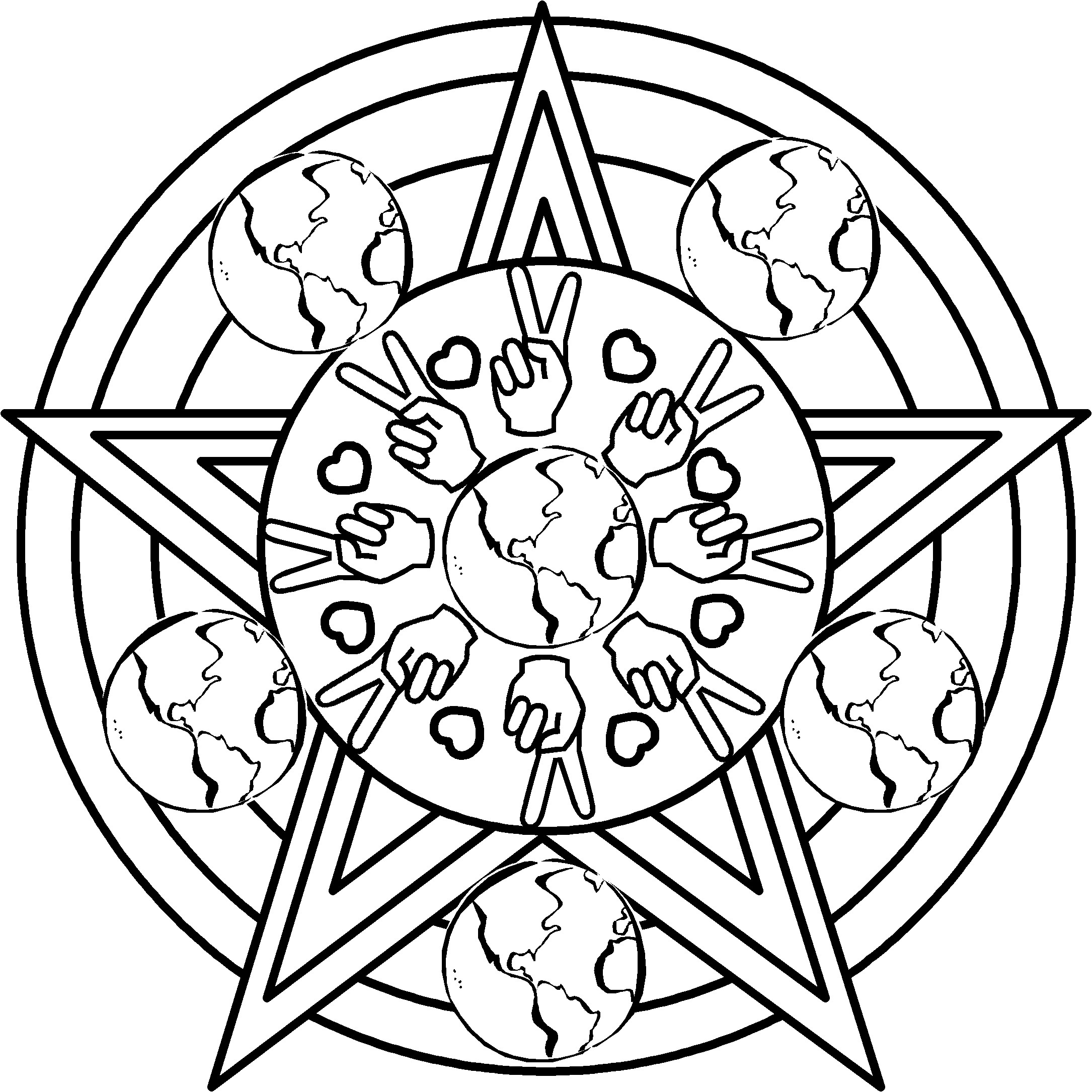 2170x2170 Mandala Peace Sign Coloring Pages Inside Pictures Of Hearts