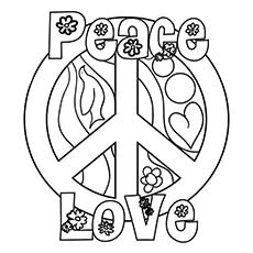 230x230 Peace And Love Coloring Pages Top Free Printable Sign Online