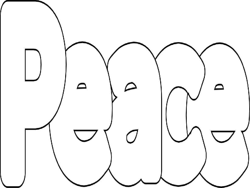 1024x768 Peace Symbol Coloring Pages