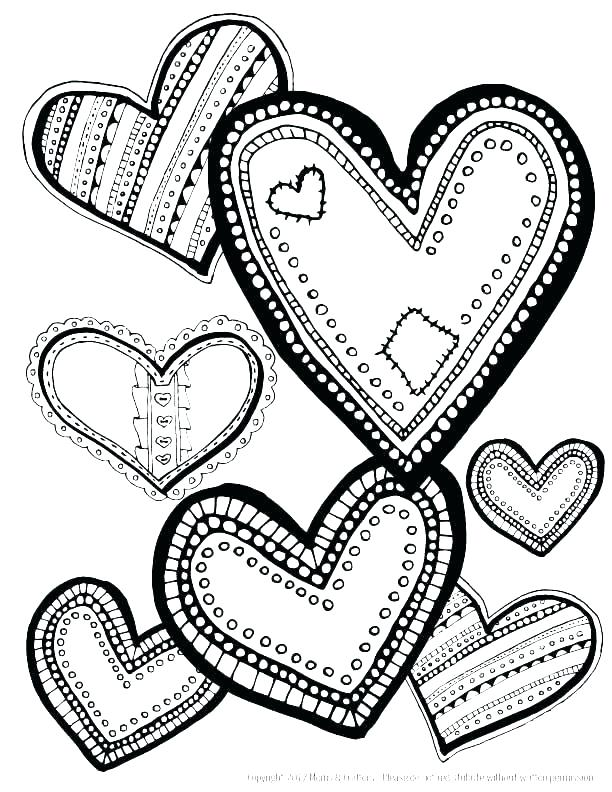 612x792 Picture Of Hearts To Color Coloring Pages Hearts Broken Heart
