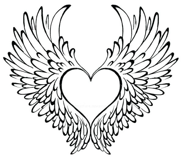 600x519 Coloring Pages Heart Comment With Wings Page Free Download