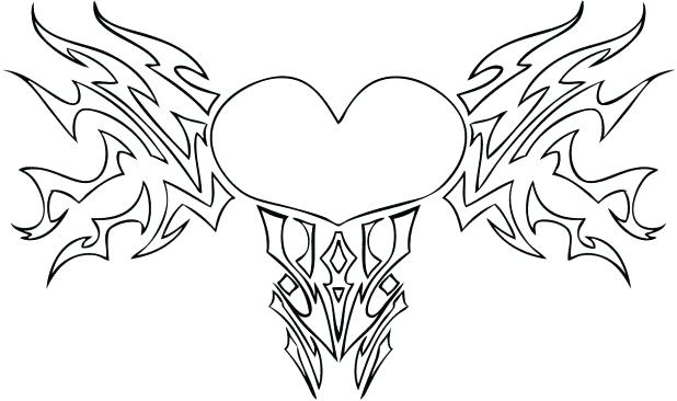 618x366 Double Heart Coloring Pages Heart Coloring Pages Double Coloring