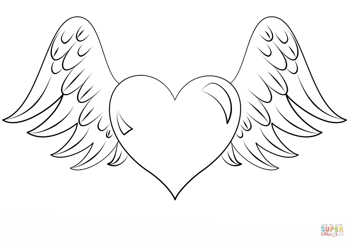 Coloring Pages Of Hearts With Wings And Roses at GetDrawings ...