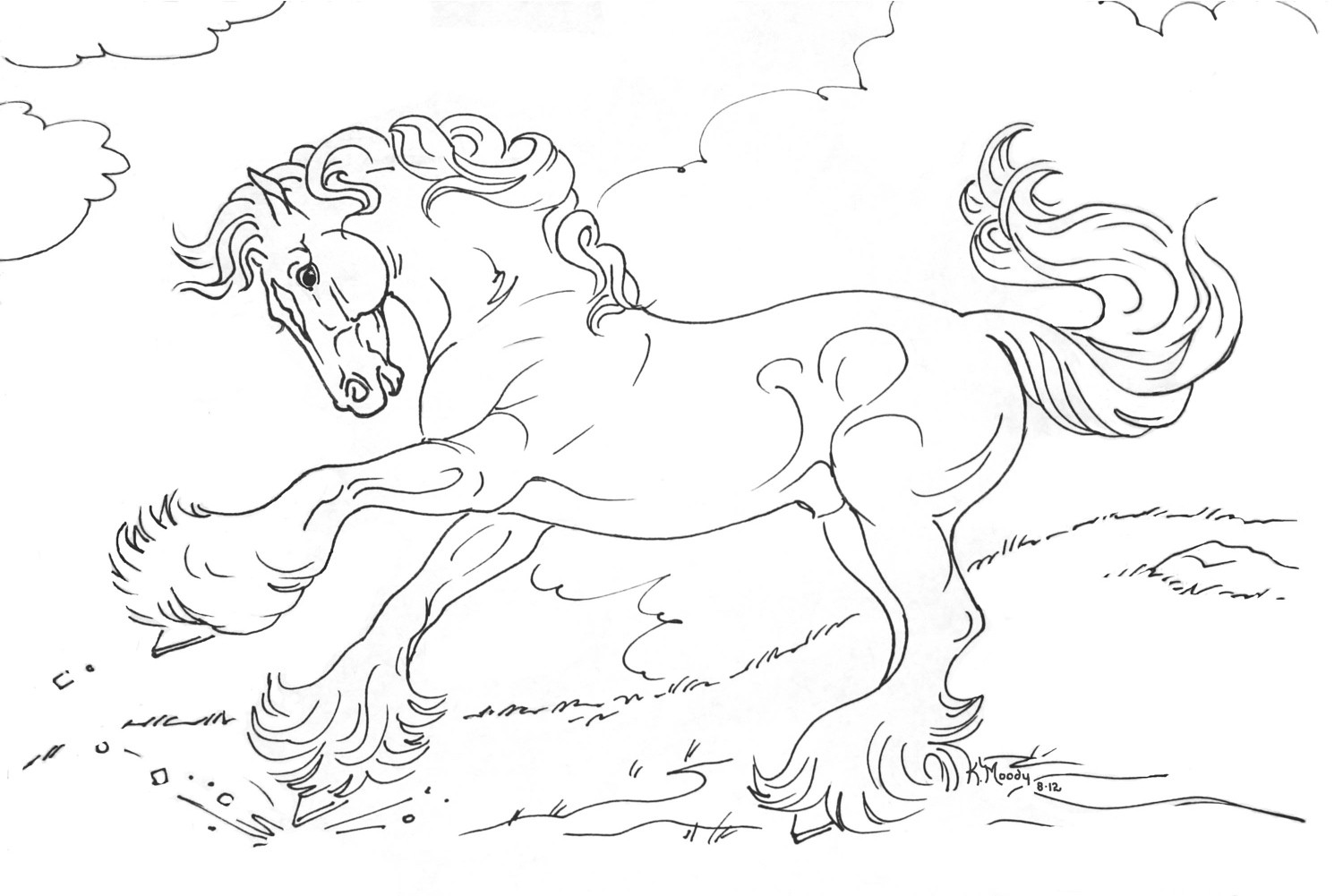 1500x1001 Arabian Horse Coloring Pages Lineart Stallion