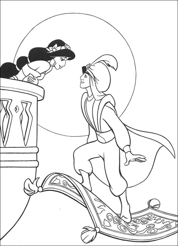 607x840 Jasmine And Aladdin Coloring Pages Free