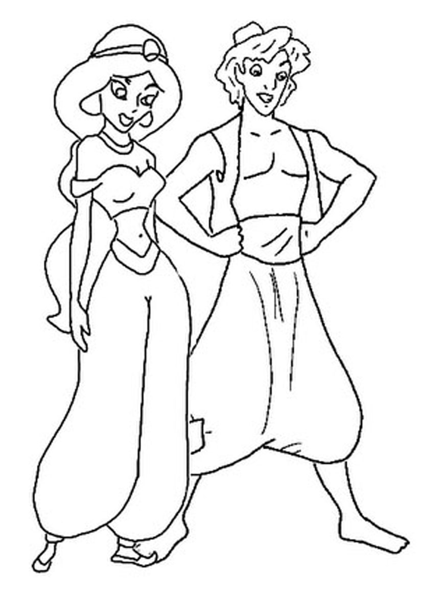 826x1169 Jasmine And Aladdin Coloring Sheets Coloring Pages