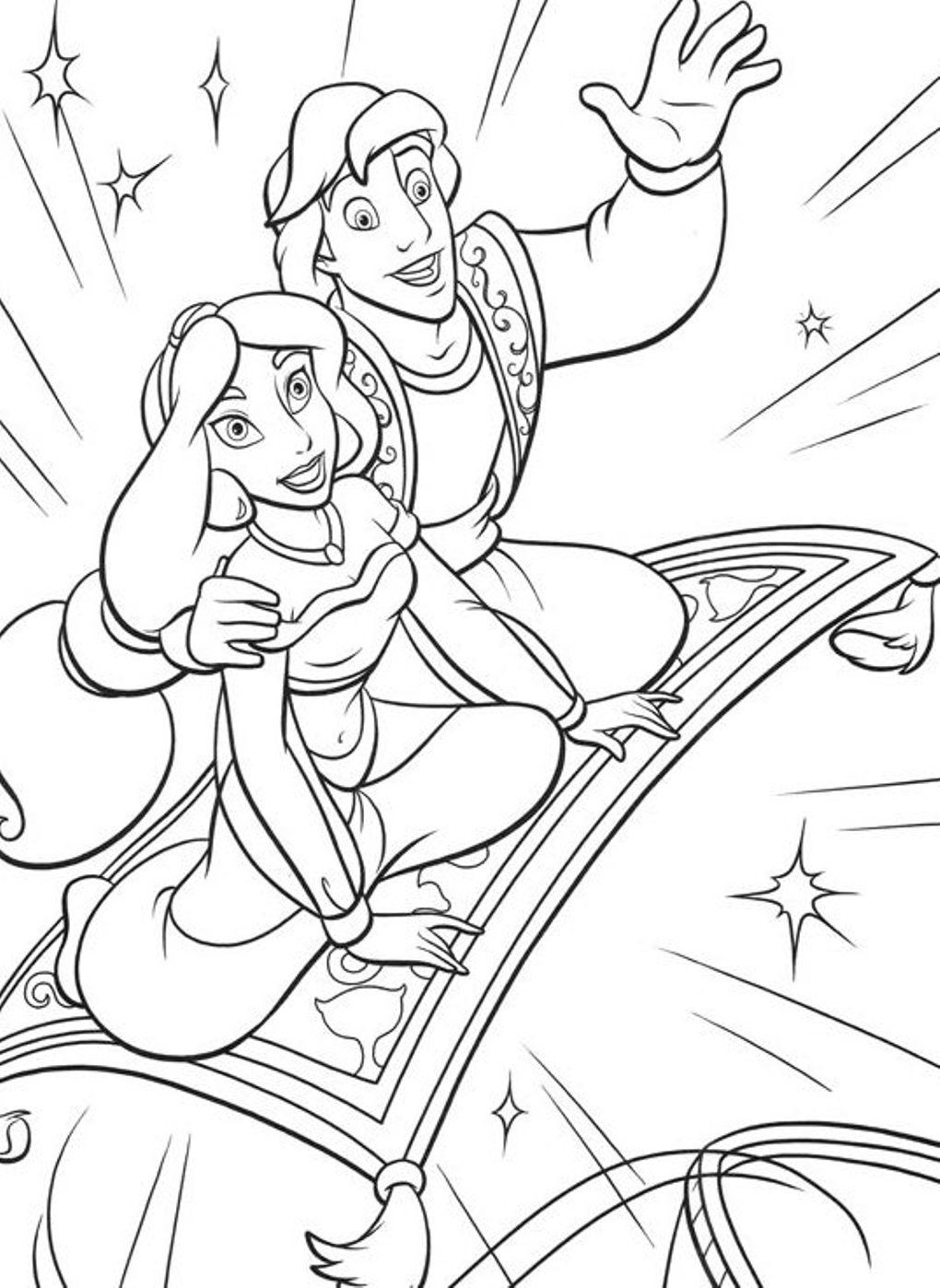 1020x1398 Magical World Of Arabian Aladdin Aladdin Coloring Pages Free
