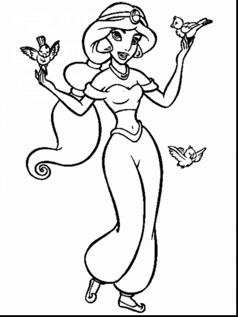 768x1024 Aladdin Coloring Pages Jasmine Free Picture Cartoon General Iago