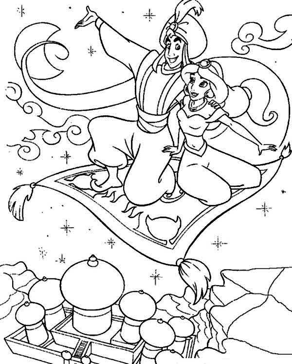 600x748 Aladdin Showing Jasmine The Whole Agrabah From Above Coloring Page
