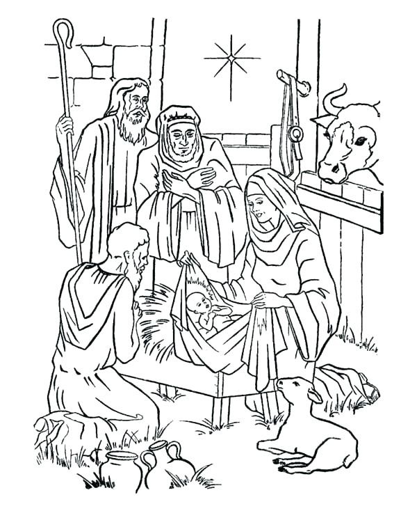 600x734 Baby Jesus Manger Scene Coloring Page In Nativity Of And Star