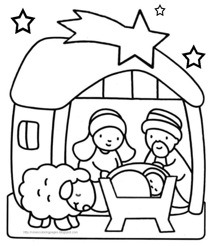 732x853 Baby Jesus Coloring Page Merry Christmas Family Crafts
