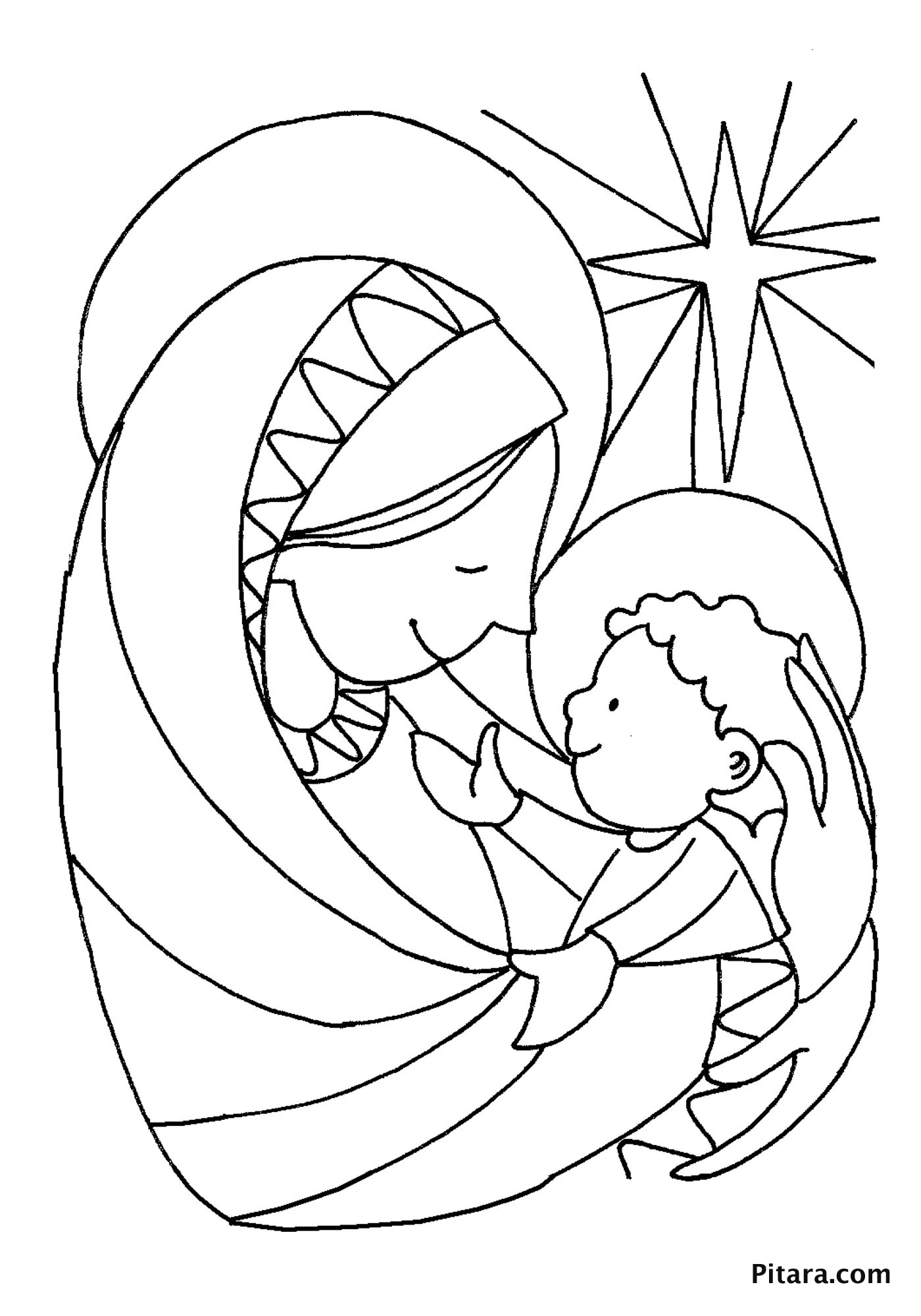 1400x2000 Mother Mary With Baby Jesus Coloring Page For In Manger