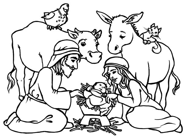 600x457 Baby Jesus In A Manger Nativity Coloring Page Color Luna Pages