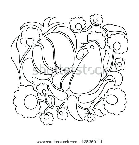450x470 Polish Coloring Pages Rooster And Flowers On A White Background