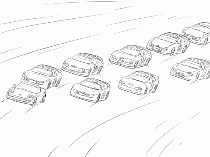 730x547 A Lot Nascar Cars Racing The Hot Track Coloring Page Disney Racing