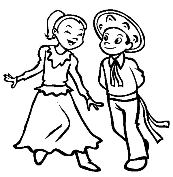 600x612 Couple Dancing In Mexican Dress Coloring Pages Color Luna