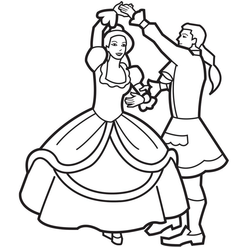 842x842 Prince And Princess Dancing Coloring Page