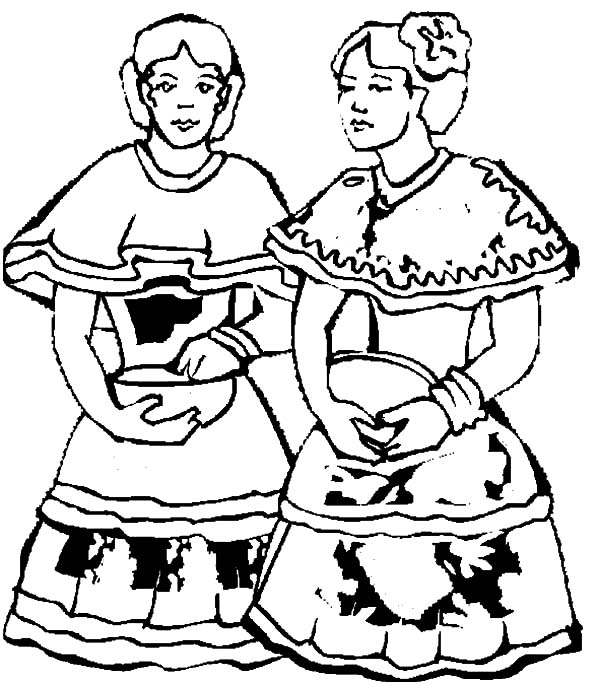 600x685 Two Mexican Dancer In Mexican Dress Coloring Pages Color Luna