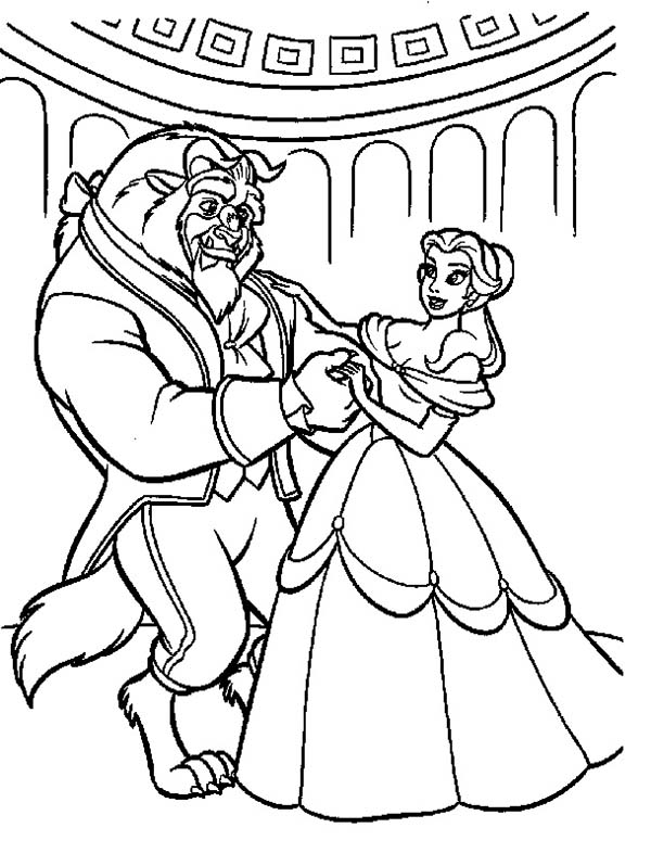 600x798 Belle Teach The Beast How To Dance Coloring Page