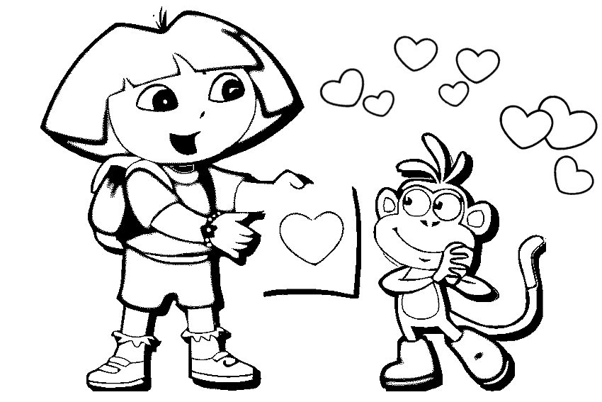 850x567 Monkey And Dori Love Free Coloring Page Adults, Animals, Kids