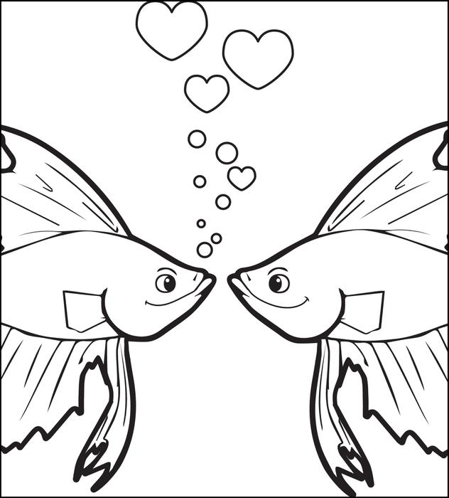 632x700 Kissing Fish Coloring Pages Free Printable Kissing Fish Valentines