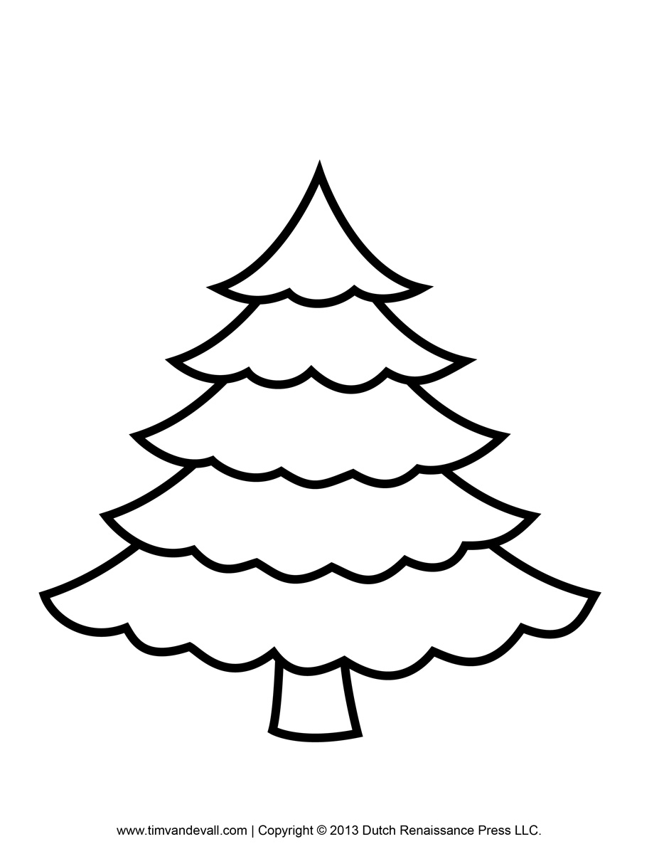 927x1200 Christmas Tree Clipart Coloring Page