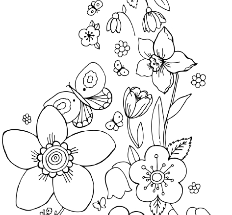 473x439 Coloring Pages Of Flowers And Butterflies