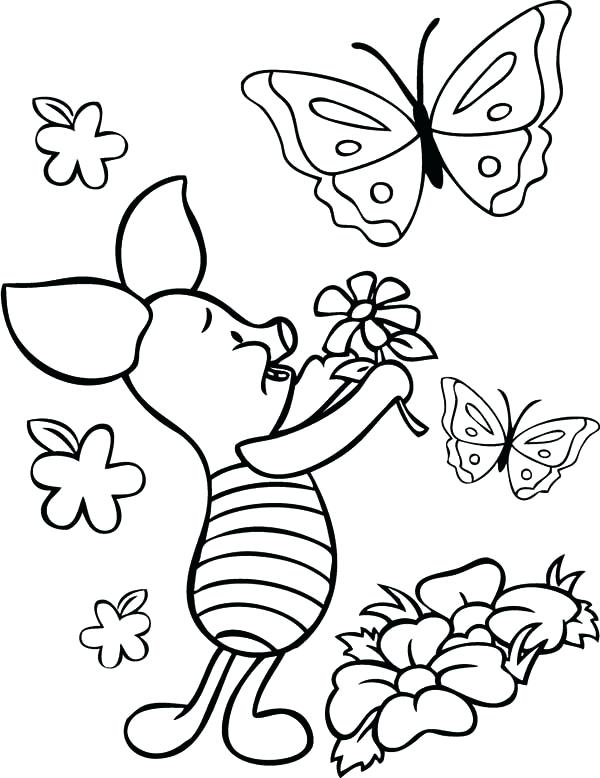 600x778 Flower And Butterfly Coloring Pages