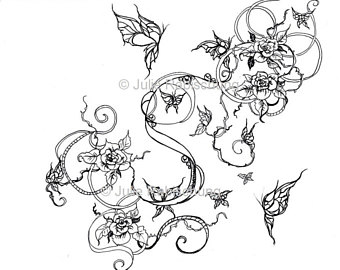 340x270 Butterfly Dreamcatcher Coloring Page Instant Download Digital