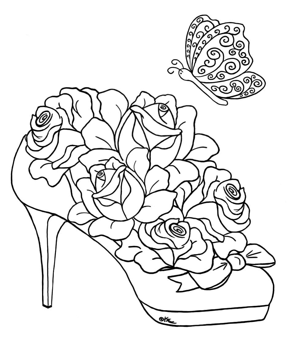 954x1095 Butterfly And Roses Coloring Pages