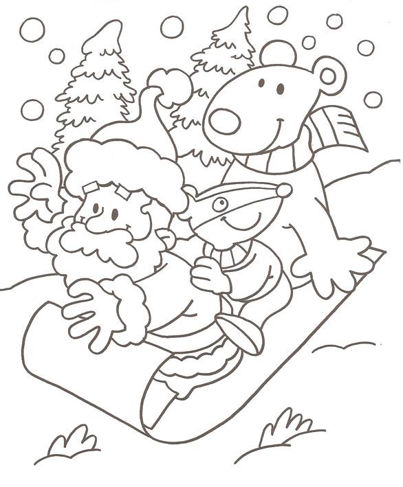 586x709 Dorable Coloring Pages Of Santa Sleigh Photos