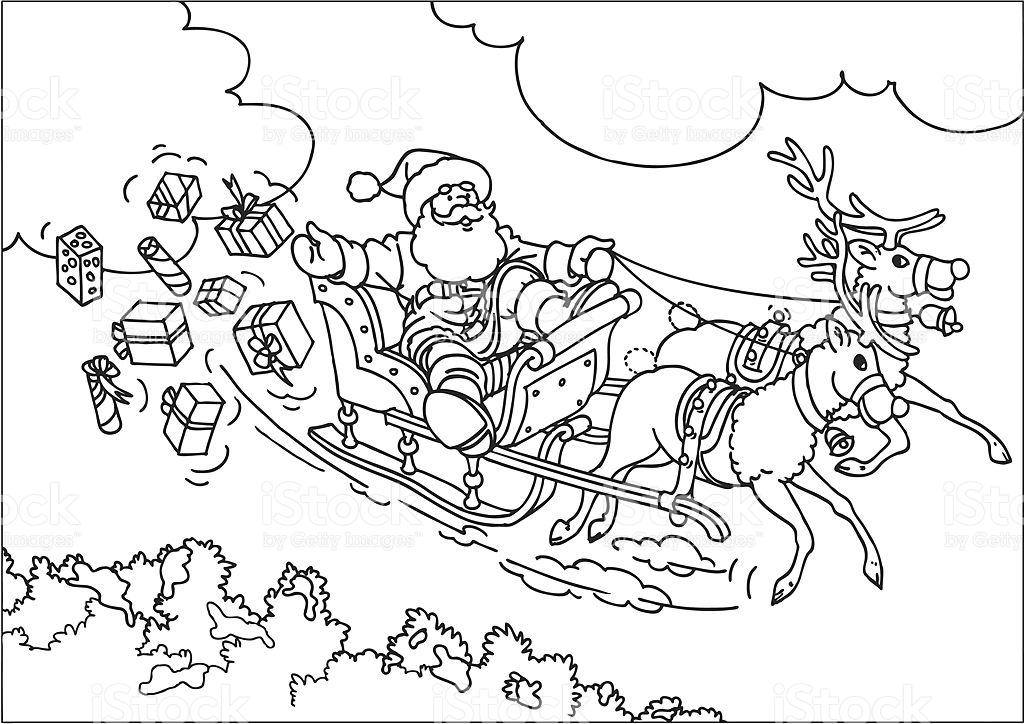 1024x724 Drawn Santa His Sleigh