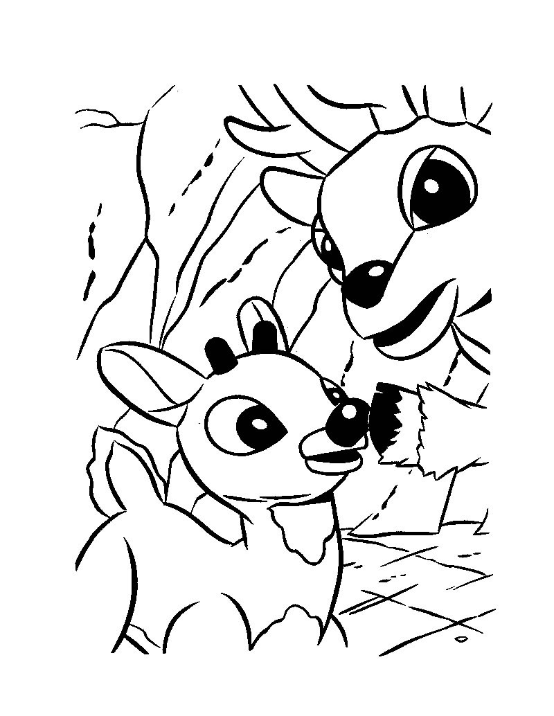 800x1034 Rudolph And Santa Sleigh Coloring Pages