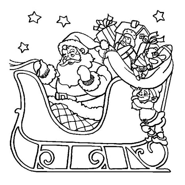 600x600 Santa And His Sleigh Coloring Pages Santa Claus Riding His Sleigh