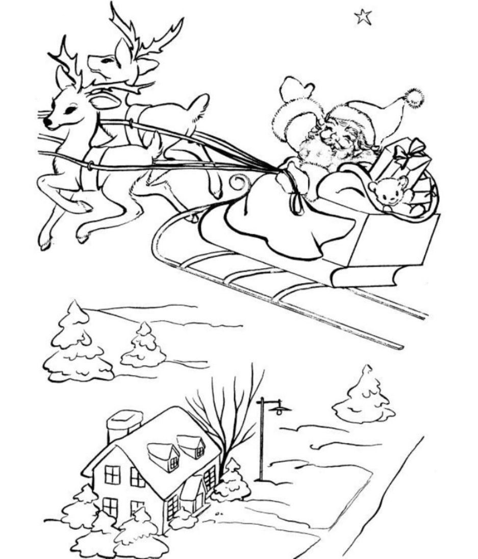 937x1096 Santa And His Sleigh Free Coloring Pages For Christmas Christmas