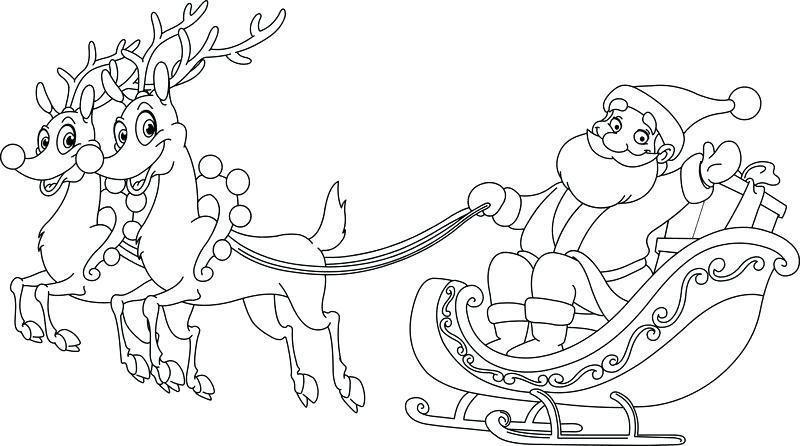 800x446 Santa Printable Coloring Pages Sleigh Coloring Page Printable