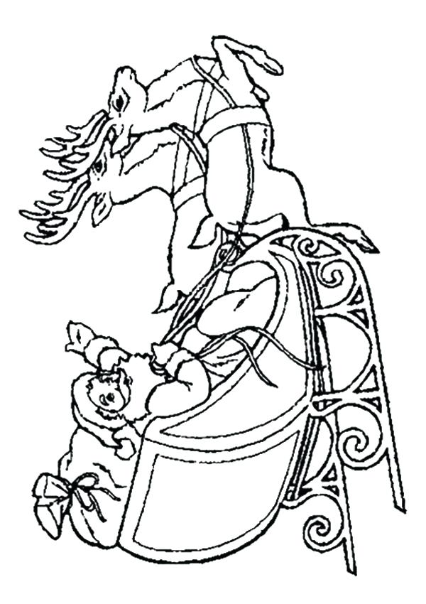 600x850 Santa Sleigh Coloring Page Free Online On Sleigh Colouring Page