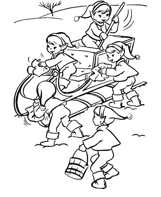 518x632 Santa Sleigh Coloring Page The Elves Cleaning The Sleigh Coloring
