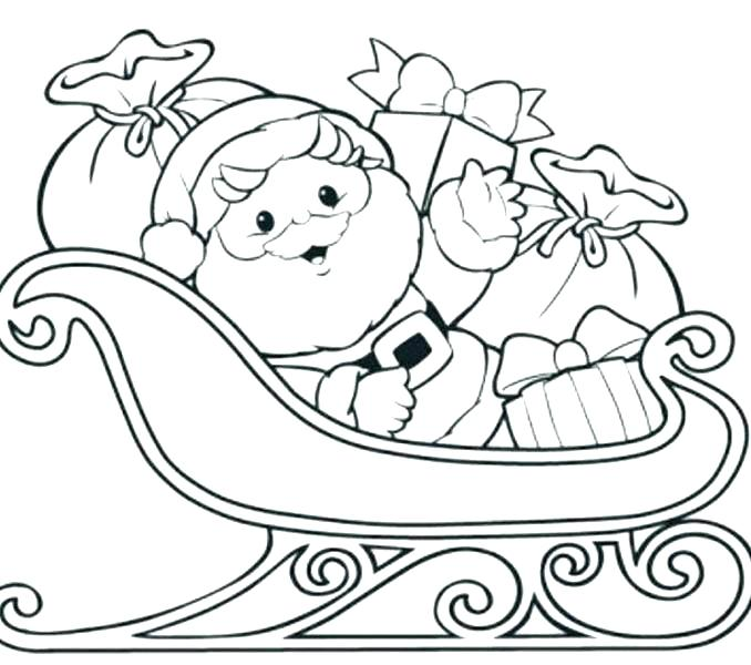 678x600 Coloring Page Of Santa In His Sleigh