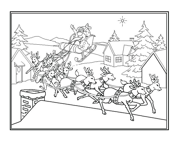 720x576 Coloring Pages Of Santa Claus Flying With His Sleigh