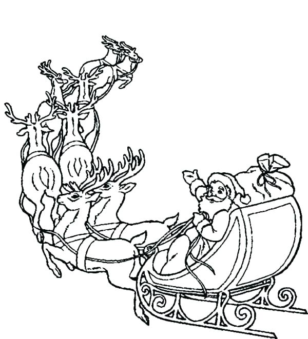 600x661 Santa And His Sleigh Coloring Pages