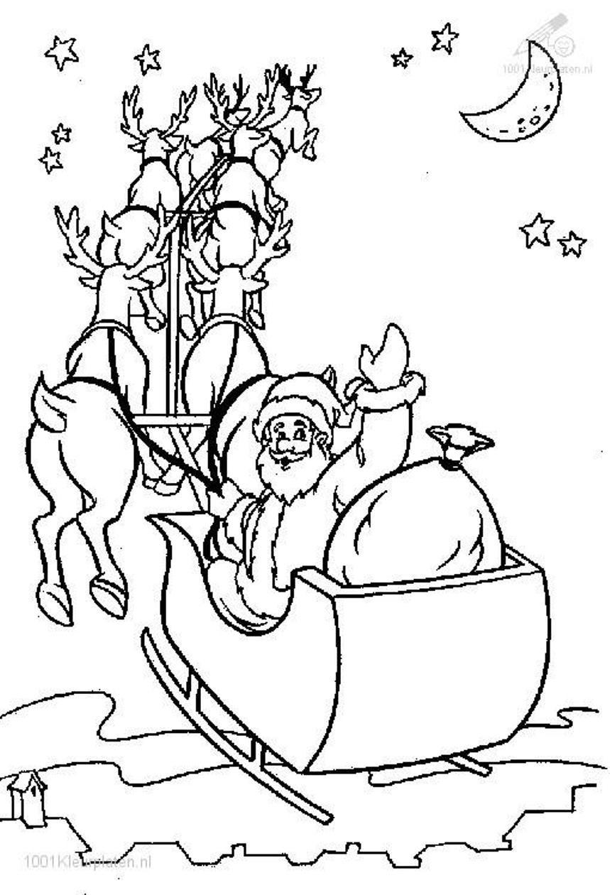 859x1260 Christmas Coloring Pages Printable Santa And His Sleigh