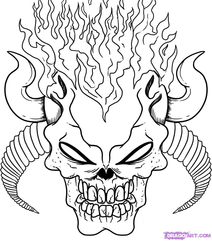 868x988 Coloring Pages Skulls Flames