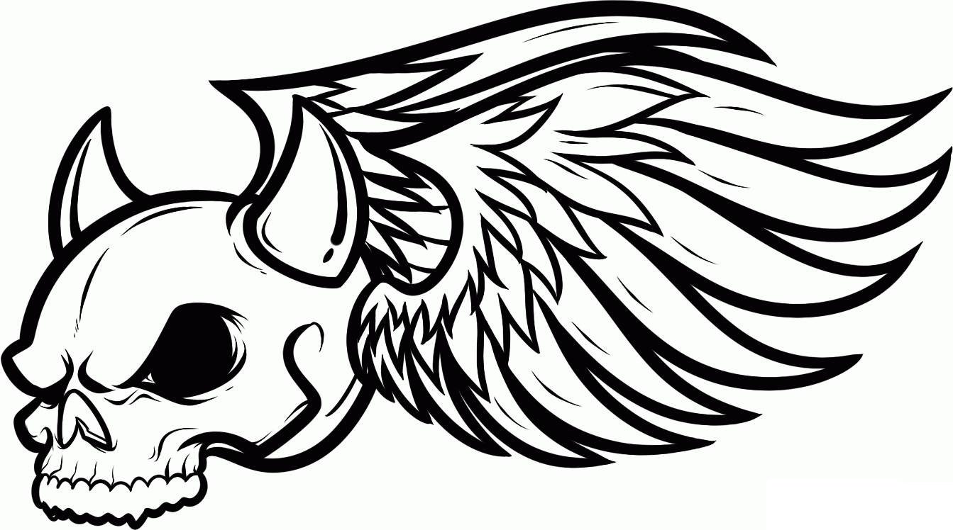 1343x748 Skull Coloring Pages