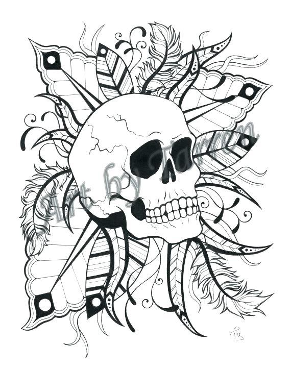 570x725 Coloring Skulls Coloring Pages Flaming Skull Page Sugar Colouring