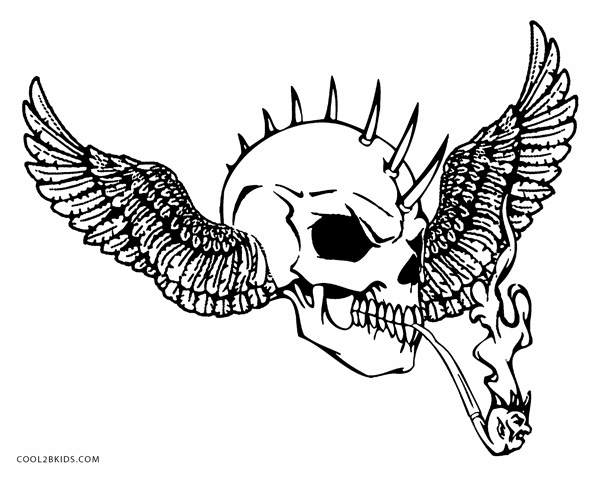 600x479 Coloring Pages Skulls Flames Printable Skulls Coloring Pages