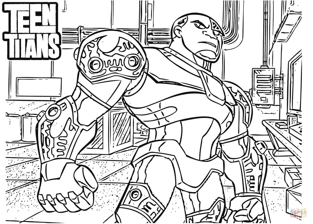 1090x779 Teen Titans Cyborg Coloring Page Free Printable Coloring Pages