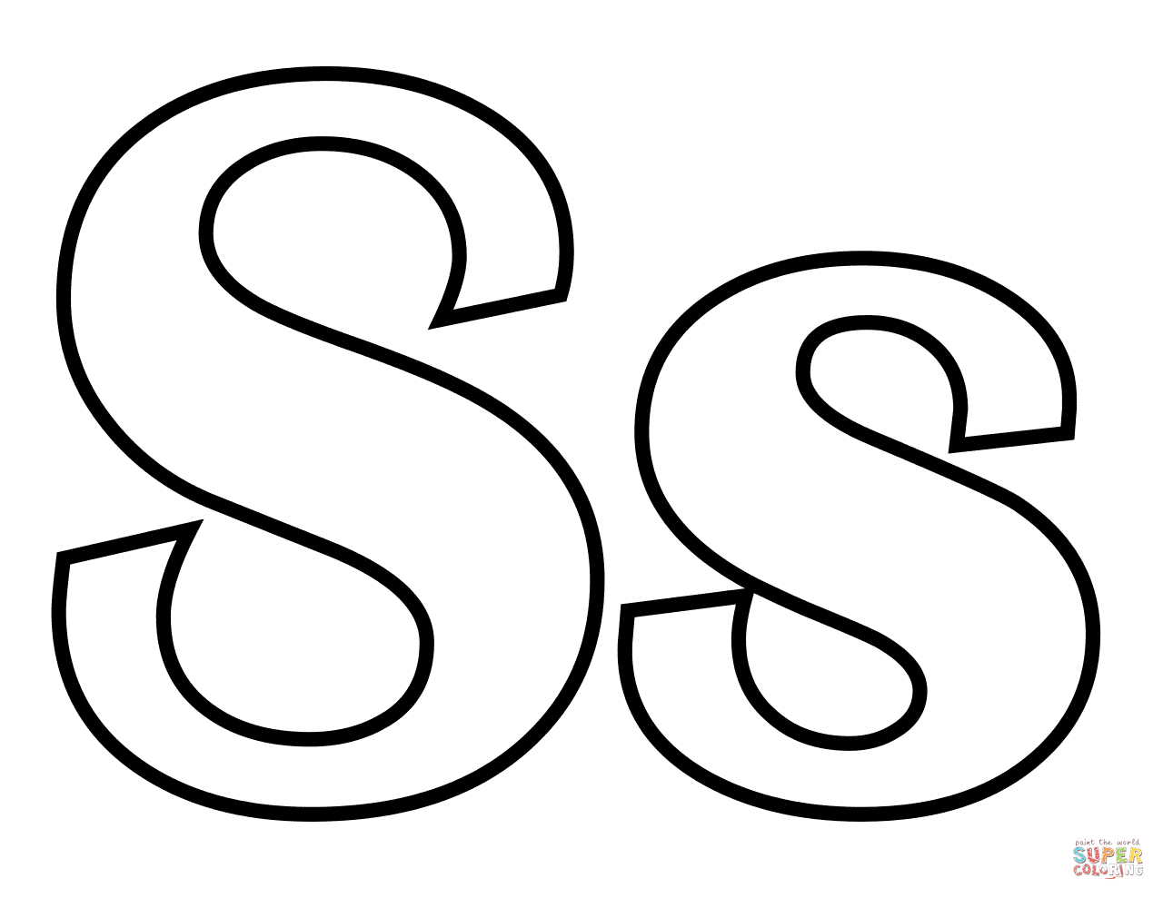 1280x989 Classic Letter S Coloring Page Free Printable Coloring Pages