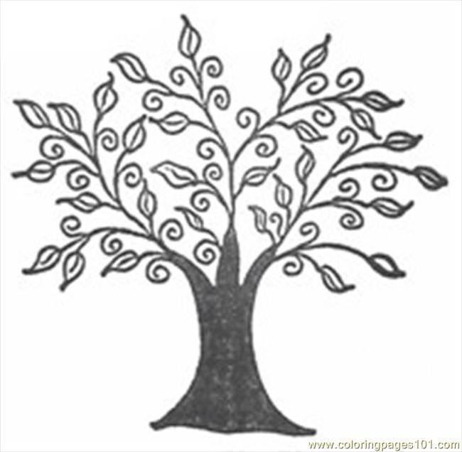 650x636 Swirly Tree Coloring Page