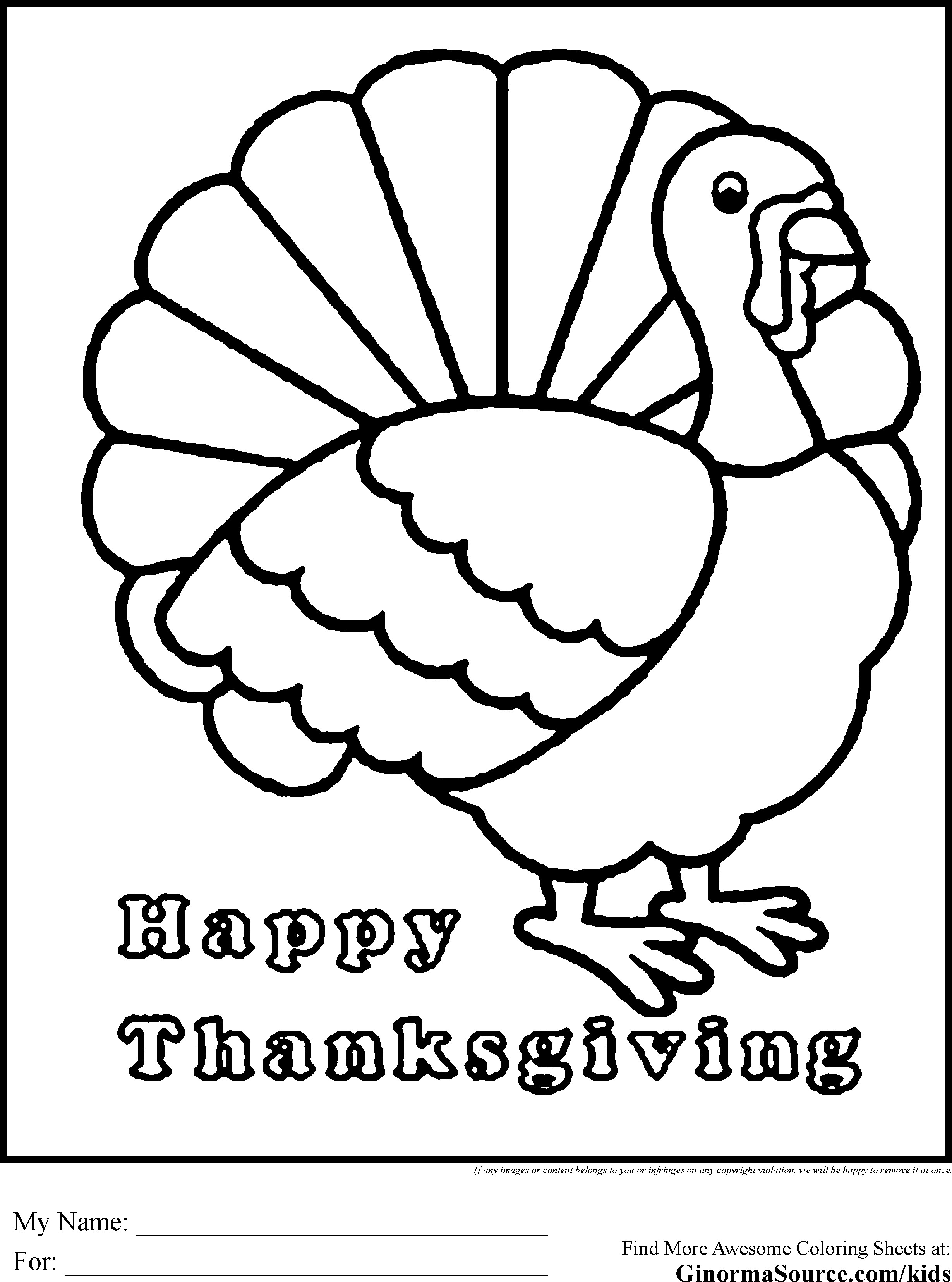 2459x3310 Coloring Pages Turkey Skill Of A Page For Preschool